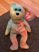 Rare! PVC Peace Bear 1996 - Retired TY Beanie Baby With Errors! Exceptional