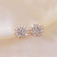 Fashion Women Gift Lady Gold Ear Studs Crystal Circle Rhinestone Earrings