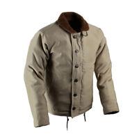 USN N-1 Deck Jacket Khaki Military Uniform Wool Mens Winter Cotton Coat N1 Army