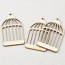 25 Wooden Bird Cage Shapes Gift Tags Blank Decoration Craft DIY Wood Cut Out