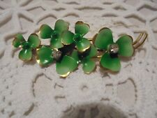 Enameled Shamroock Flower Crystal Pin Vintage 18 Kt Irish Green