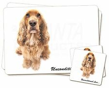 Gold Cocker Spaniel-With Love Twin 2x Placemats+2x Coasters Set in G, AD-SC72uPC