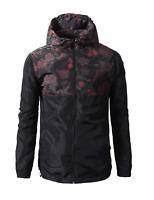 Beautiful Giant Men's Lightweight Windbreaker Floral Jacket with Hood Black
