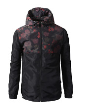 Beautiful Giant Men's Lightweight Windbreaker Floral Jacket with Hood Black