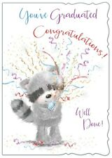 "Open Graduation Greetings Card - Raccoon & Streamers  7.5"" x 5.25"""