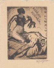 Exlibris Bookplate Radierung Jan Konupek 1883-1950 Frau Haare Schere Mann