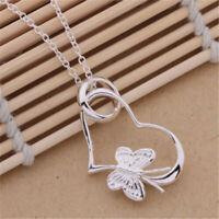 925 Silver Butterfly Cute Women Heart Flower Charm Chain Necklace Jewelry Gift