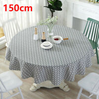 150cm Round Bright Table Cloth Cotton Linen Household Garden Dining Tableware UK