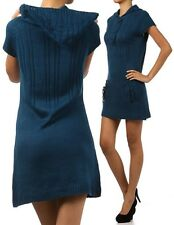 New Hooded Short Sleeve Sweater Dress Knit Tunic with Hoodie and Button Detail