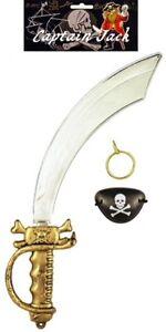 Pirate Fancy Dress Costume Accessories Eye Patch Earring Cutlass Sword Adult Kid