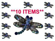 10 x ELEGANT TEAL / BLUE SPARKLY DRAGONFLY METAL HAIR CLAW / CLIP CLAMP *RESALE*