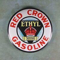 """Vintage Advertising Sign Fridge Magnet 2 1/4"""" Red Crown Gasoline Gas Station"""