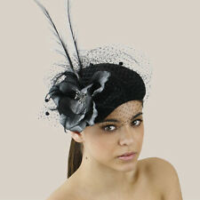 ac3ed4c2618 CHIC Ladies Formal Spring Racing Wedding Black Felt Hat Fascinator w Faux  Flower