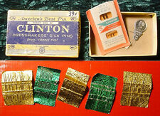 Singer Machine Needles Plus Vintage Clinton Dressmakers Silk Pins & Box.