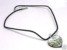 Yellow Blue Purple Silver Tone Heart Pendant NECKLACE