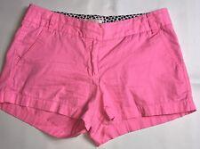 "J. Crew Chino Shorts Womens Size 6 Neon Pink Broken-In Cotton 3"""