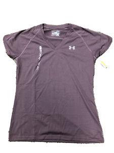 Women Medium Semi Fitted Under Armour Heat Gear Plum Stripe Vneck SS T Shirt NWT