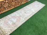 2'10''x11'3'' Vintage Turkish Rug Runner,Oushak Runner Rug,Ushak Carpet Runner