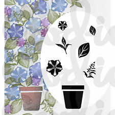 New Card-io Majestix Clear Stamps Peg Stamps Potted Petunia