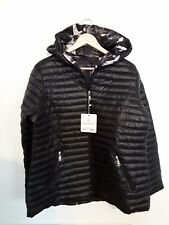 Waterproof Spring Quilted Padded Thick Double-Side Hoddie Black  Flower Jacket