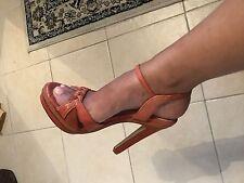 Ellie Tahari Damas Tacones Altos Diseñador Talla 5 Reino Unido Naranja Quemado Sandalias De Tiras