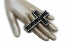 Women Knuckle Ring Fashion Jewelry Black Metal Big Wide Cross Middle Hand Finger