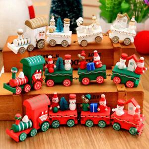 Wooden Train Christmas Xmas Tree Santa Snowman Home Decor Table Ornament Gift