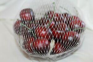 24 Faux Cherries Red Life Size Decorative Fruit Art Craft Pretend Food Fake Stem