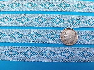 """French Heirloom Cotton Lace Insertion5/8"""" Wide White Fashion/Craft/Doll Lace 858"""
