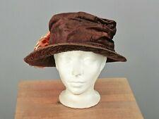 Vtg Women's Antique Teens Brown Velvet Hat 1910s