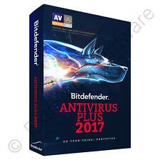 Bitdefender Antivirus Plus 2017 2018 3 PCs Users 1 Year Sealed Retail DVD