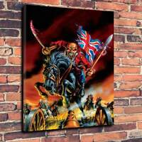 "Iron Maiden Eddie The Trooper Printed Box Canvas A1.30""x20"" x 30mm Heavy Metal ."