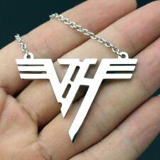 Van Halen Necklace VH Logo Stainless Steel Pendant Silver Plated Charm Eddie Van