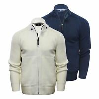 Mens Cardigan Jumper Duck & Cover Stern Cotton Zip Up Funnel Neck Sweater