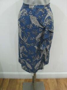 HE LOVES ME HE LOVES ME NOT Blue & White Paisley Midi Pencil Skirt ~ S