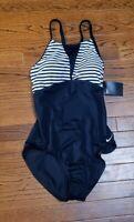 NWT Nike Women's Heather Stripe Crossback One Piece Swimsuit Black White Medium