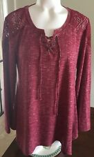 Style & Co Womens Top Medium Long Sleeve Burgundy Lace Detail