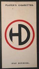 51st Highland Division    British World War 1 1914/18 INSIGNIA CARD  VGC