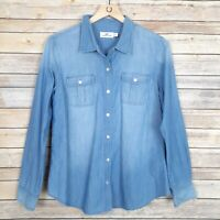 Vineyard Vines Womens Top Button Front Long Sleeve Chambray Size 12