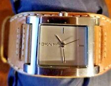 DKNY Women Watch NY 3260 Square Silver Dial & Case Wide Tan Leather Band