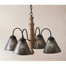 Primitive new textured pearwood wood chandelier w/ black tin shades /FREE SHIP