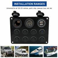8 Gang Blue LED Light Switch Panel Circuit Breaker USB Car Boat Rocker RV 12-24V