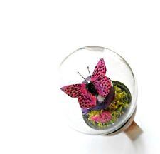 Terrarium Butterfly Mushrooms Flower Adjustable Globe Bubble Ring