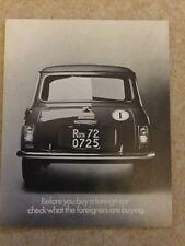 MINI 1000 Car Sales Brochure c1970 #2834 in mint condition