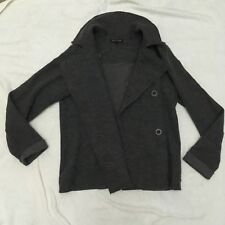 Eileen Fisher Gray 94% Merino Wool Double Breasted Pea Coat Jacket Womens M