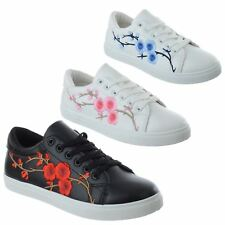 WOMENS FLORAL EMBROIDERED FLAT LACE UP LADIES TRAINERS PUMPS SPORTS SHOES SIZE
