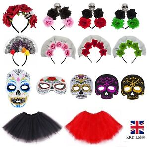 DAY OF THE DEAD FANCY DRESS ACCESSORIES Adult Kids Halloween Costume Mask Lot UK