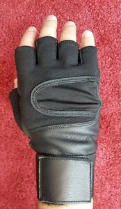 100% Leather Gloves, Finger Less, Cycling, Gym, Wheelchair, Training, Driving,