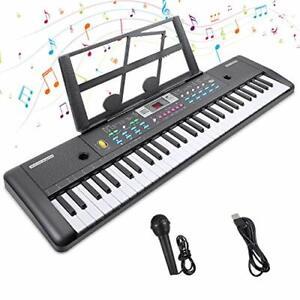 Keyboard Renfox Digital Piano 61 Tasten Musikinstrument Musizieren schwarz