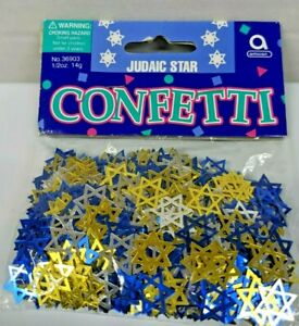 JUDIAC STAR CONFETTI ~ Blue, Silver & Gold ~ 1/2 oz ~ Lot of 2 Bags